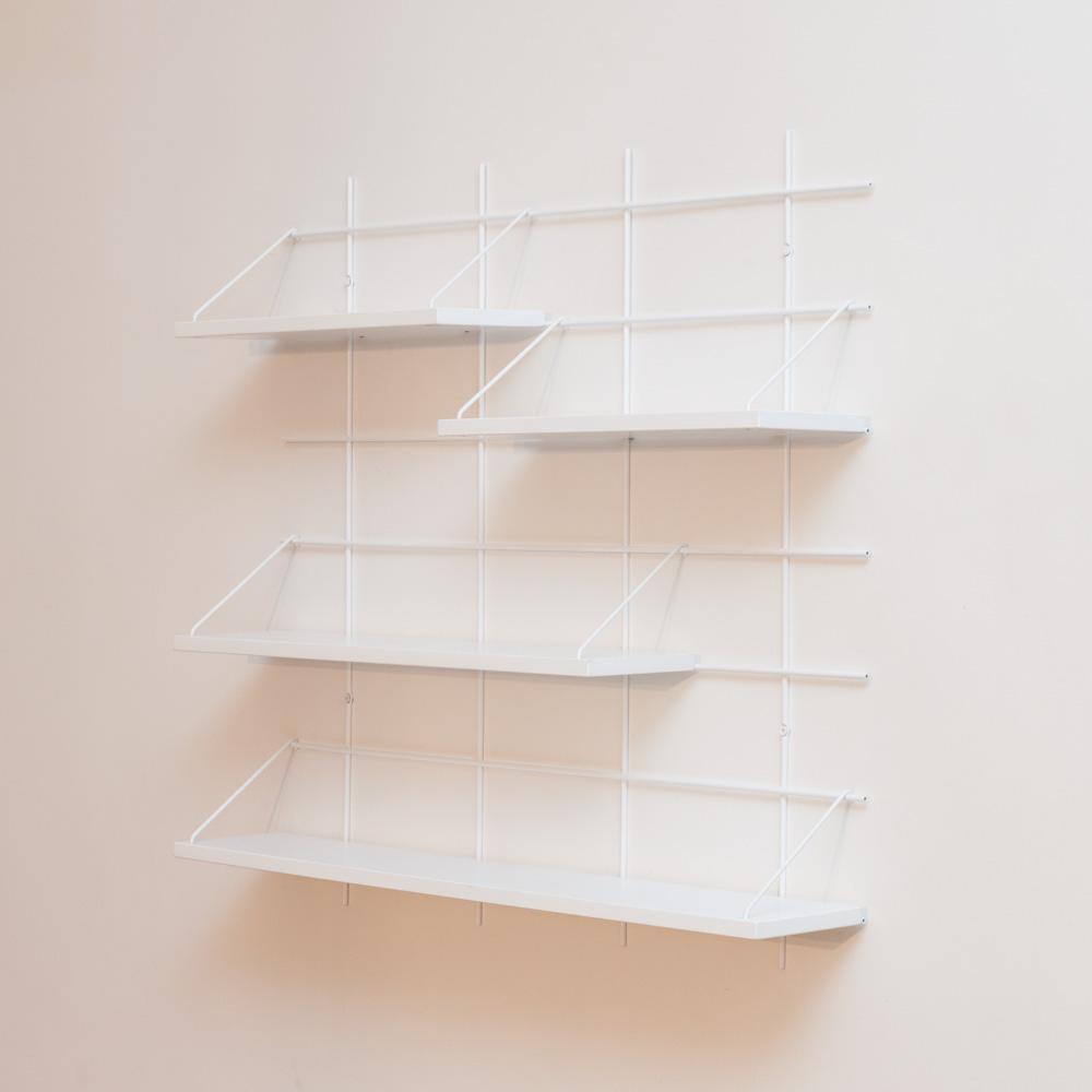 étagère Gassien Paris config 7 Louison 1 base blanche 4 planches laquées blanches faible profondeur 15cm vue de profil