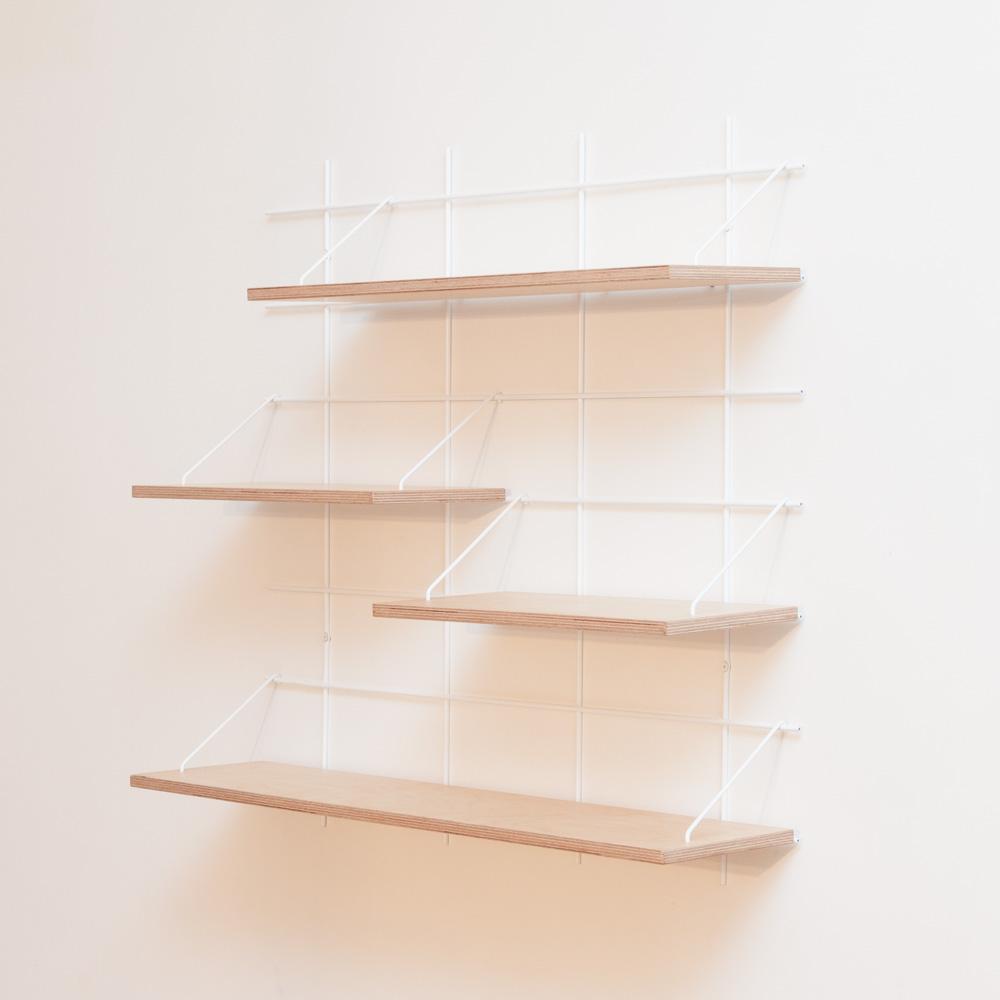 étagère Gassien Paris compo 29 1 base blanche 4 planches contreplaqué bouleau moyenne profondeur 20cm vue de profil