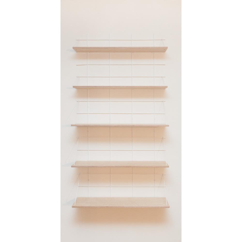 étagère Gassien Paris compo 32 verticale 2 bases blanches 5 planches contreplaqué bouleau mix profondeurs moyenne et grande 20cm 30cm vue de face